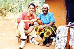 Obama and his grandmother Barack and his grandmother Sarah sitting outside their family hut.