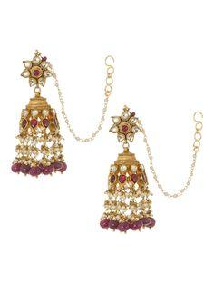 Buy Golden Pink Ivory Kundan Work Silver Jhumkis Crystal Semi Precious Stones Pearl Jewelry Online at Jaypore.com