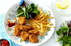 A tasty twist on a kids' classic; this cornflake chicken nuggets recipe will be a big hit! Discover lots more family favourites recipes at Tesco Real Food.