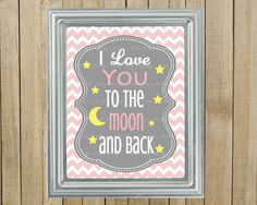 Trendy Pink Chevron with Gray I Love You to the Moon and Back Nursery Wall Decor, Playroom, Gift, Printable, Custom Digital File on Etsy, $9.00