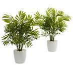 Nearly Natural Set of 2 In. Palms in White Planter at Lowe's. Various green fronds extend upward to bring vibrant lifelike leaves toward the sunlight. These set of 2 artificial palms come in white planters with light