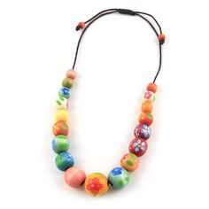 Hand Painted Wooden Bead Necklace  $26.00
