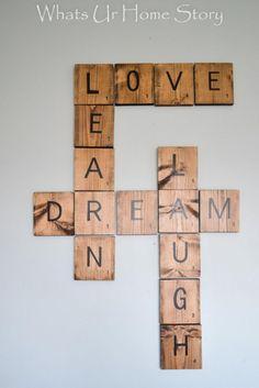 room diy wall DIY Scrabble Tile Art More - roomdiy Diy Scrabble Art, Scrabble Wand, Scrabble Letters, Scrabble Wall Tiles, Metal Letters, Metal Tree Wall Art, Diy Wall Art, Pallet Wall Art, Diy Wanddekorationen