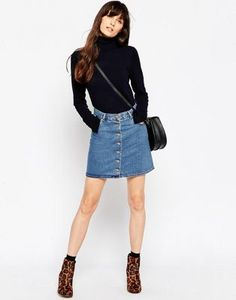 ASOS Denim Dolly Button Through Skirt In Mid Wash Blue