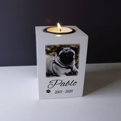 No longer by my side personalised tealight holder Candle Jars, Candle Holders, Candles, Pet Remembrance, Rustic Mason Jars, My Side, Pet Names, Tea Light Holder, Tea Lights