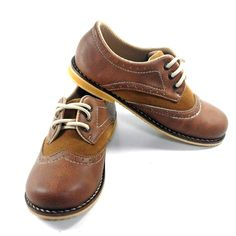 Double Tone Suede Kids Shoes Classic Wingtip Brogue by MewowShoes