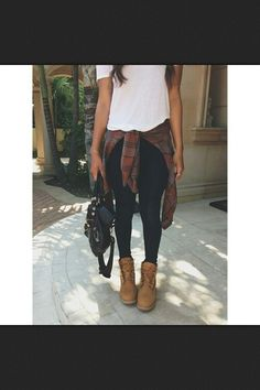 Cute outfit love the timberlands with it