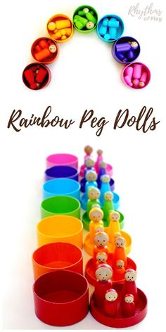 A unique handmade DIY toy gift idea for Christmas and birthdays. Rainbow peg dolls are a craft for older kids, teens, and adults. Wooden Dolls like this are commonly used for pretend or imaginative play and color matching games in Montessori and Waldorf education. Click through to learn how easy it is to make this beautiful homemade toy!