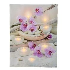 Collections Etc  LED Lighted Orchid Canvas, Wood, Polyester