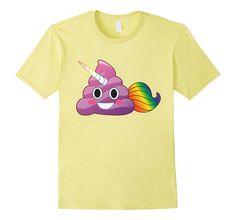 fe61ae459c Amazon.com: Cute Magical Unicorn Poop Emoji with Rainbow Tail T-Shirt:
