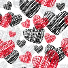 Funny seamless pattern with hearts Vector Royalty Free Stock Vector Art Illustration