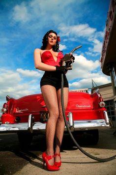 car, pin up photos, girl, rockabilli, pinup, photo shoots, gas pumps, charging stations, roxi dlite