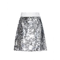 Take center stage in Dolce & Gabbana's silver sequined skirt. The stand-out embellishment is toned down with a modest silhouette and brocade waistband, while the silk lining will keep it comfortable as you dance the night away.