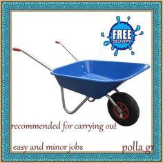 Garden-Plastic-Wheelbarrow-60ltr-Plastic-Blue-Lightweight-Galvanised-Steel-Frame