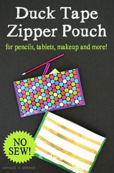 This fun no-sew Duck Tape zipper pouch comes together in just around FIVE minutes! It makes a great pencil pouch, makeup bag, or tablet case!