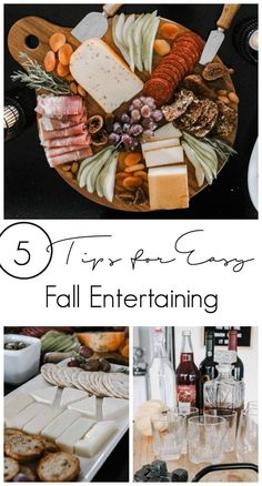 Beautiful Fall Charcuterie Board Display! Five tips to make autumn and thanksgiving entertaining easier! Love these simple ideas for cheese and meat trays, appetizer, and drinks! #fall #appetizer #charcuterie #charcuterieboards #fallfood #thanksgiving