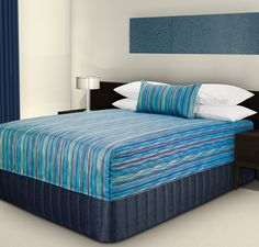 "Practical Fitted Bed Cover presented as a Flat Cap Top and Bel-Air Cushion - ""Malibu"" Aqua/Gold #hotelhome #hotelbed #hotelcushion"