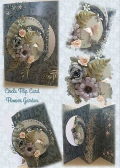 Made by Nicky Viner - Circle flip card using Tattered Lace half circle die for the card, decorated with Tattered Lace fern, trio flower and other dies Stepper Cards, Flip Cards, Half Circle, Paper Crafting, I Card, Handmade Cards, Dyi, Cardmaking, Card Ideas