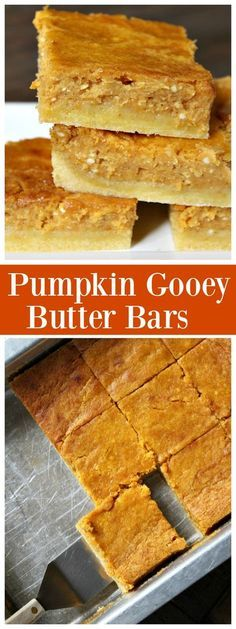 Pumpkin Gooey Butter Bars recipe - from http://RecipeBoy.com - an easy recipe for these delicious pumpkin bars.  Great fall dessert.