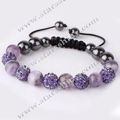 Shamballa Bracelet, 10mm round violet clay rhinestone & amethyst beads, adjustable        Item No.:SN014731      Shop price: US$5.94 - US$6.99
