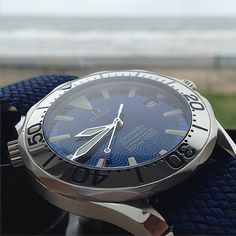 The waves might be a little rough outside at the moment but inside they are perfect on this stunning Omega Seamaster Professional, Pictured here on a blue Perlon, a great alternative to the bracelet!!