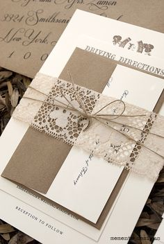 Vintage lace and twine wedding invitation with horseshoe pendant by Memento Designs