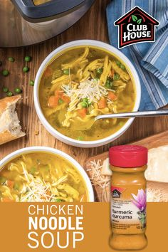 There's nothing more comforting than homemade chicken noodle soup. Try something new and add turmeric for a feel-good twist to the classic dish! Make a big batch using your trusty Instant Pot in just 20 minutes. Instant Pot Dinner Recipes, Easy Soup Recipes, Chicken Recipes, Healthy Recipes, Healthy Foods, Yummy Recipes, Chicken Noodle Soup Rotisserie, Slow Cooker Recipes, Cooking Recipes