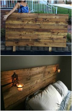 Update your boring bedroom and add a personal touch with this lovely Queen-Sized Pallet Headboard and don't spend a single penny! Queen-Sized Pallet Headboard: To begin, we cut a piece of plywood as the backing and used two pallet stringers as Diy Pallet Bed, Pallet Patio Furniture, Diy Pallet Projects, Headboard Pallet, Headboard Ideas, Pallet Ideas, Pallet Sofa, Furniture Ideas, Rustic Wood Headboard