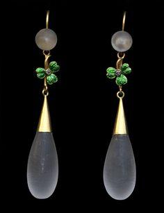 Diamond Is A Girl Best Friend   VictorianShamrock Drop Earrings -Gold Enamel...