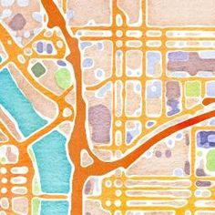Watercolor map tiles by Stamen Design