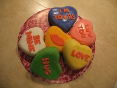 Valentine's Day conversation hearts mini cakes