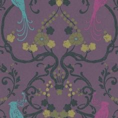 Flamenco (320724) - Eijffinger Wallpapers - A beautiful metallic purple lustre background, with a multi-coloured floral trail including birds of paradise, with a hand printed effect. Please ask for sample for true colour match. Paste-the-wall product.