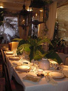 Safari style table - love the lanterns