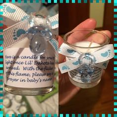 Baby shower favors Candle idea light the candle the day the baby is born and say a prayer in the baby's name