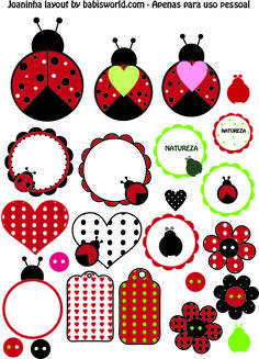 - free printable planner stickers and scrapbooking papers Printable Labels, Printable Stickers, Free Printables, Ladybug Crafts, Ladybug Party, Planner Stickers, Paper Art, Paper Crafts, Digi Stamps