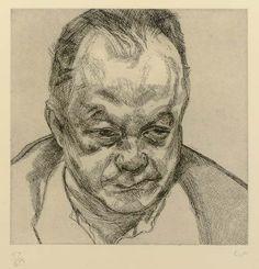 Artwork by Lucian Freud, Head of Bruce Bernard (Hartley 26), Made of etching