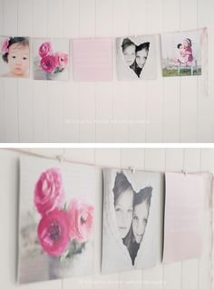 display photos on pink ribbon with clips.  cute for the girls' room.