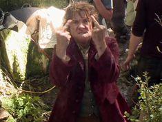 Martin Freeman as Bilbo Baggins flipping the bird... constantly