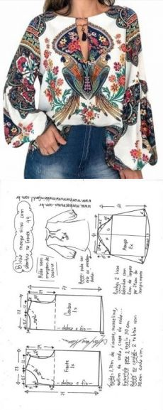 """Blusa manga sino com abertura em """"V"""" Dress Sewing Patterns, Blouse Patterns, Sewing Patterns Free, Clothing Patterns, Fashion Sewing, Diy Fashion, Fashion Outfits, Sewing Projects For Beginners, Sewing Tutorials"""