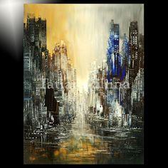 GICLEE painting of ORIGINAL abstract city blue gold dark black Tatiana art 3/100 #Abstract