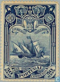 Discovery of sea route to India 1898 old postage stamp - Portugal Old Stamps, Rare Stamps, Vintage Stamps, Vintage Labels, Vintage Posters, Timor Oriental, Macao, Postage Stamp Art, Business Credit Cards