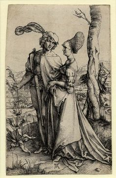 Albrecht Dürer (1471 -1528) - A lady and a gentleman walking together with Death, holding an hourglass, standing behing a tree - Engraving c.1498