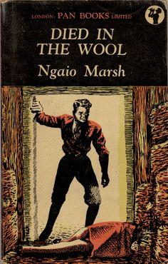 Died in Wool by Ngaio Marsh.  Pan 45, 1948. Vintage Pan paperback book cover.