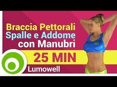 Allenamento braccia, pettorali, spalle e addominali - Esercizi con Manubri - YouTube