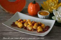Gnocchi+con+crema+di+zucca+e+pancetta+croccante