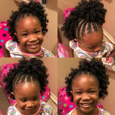 Quick and easy little girls crochet hairstyle. Used X-pression Curlette 10 medium rod hair. - March 03 2019 at Kids Crochet Hairstyles, Crochet Braids For Kids, Lil Girl Hairstyles, Natural Hairstyles For Kids, Kids Braided Hairstyles, Crochet Hair Styles, Natural Hair Styles, Short Hair Styles, Creative Hairstyles