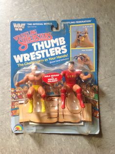 "A WWF ""thumb wrestlers"" set featuring Hulk Hogan vs Nicolai Volkoff. Retro Toys, Vintage Toys, Childhood Toys, Childhood Memories, Wwf Toys, Old School Toys, Garbage Pail Kids, Hulk Hogan, Love And Basketball"