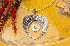 Angel Wings Shotgun Necklace (Brass/Nickel - Various Crystal Colors)