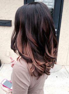Black Hair w/ Rose Gold Highlights