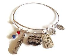 Check out Adjustable Bangle Charm Bracelet. Alex and Ani Inspired Bracelet. London Charm Bangle on riversedgecreations